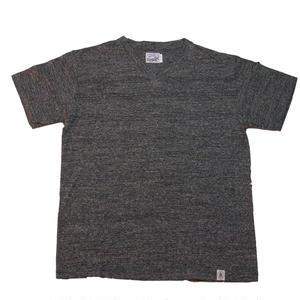 LOOPWHEEL V-NECK  T -SHIRTS -MIX CHARCOAL-