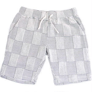 PATCHWORK JACQUARD SHORT PANTS -WHITE-
