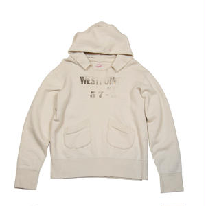WEST POINT DAMAGED HOODIE -NATURAL-
