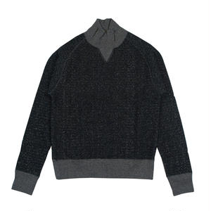 LOOPWHEEL TURTLE NECK SWEAT -MIX BLACK-