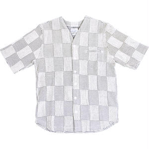 PATCHWORK JACQUARD SHIRT -WHITE-