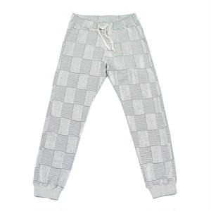 JACQUARD PATCHWORK RIB PANTS -WHITE-