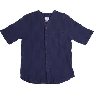PATCHWORK JACQUARD SHIRT -NAVY-