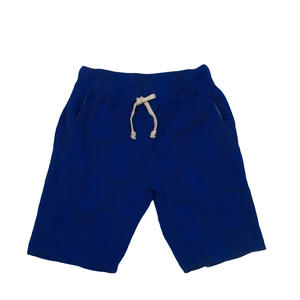OVER DYED JACQAURD PATCHWORK SHORTS -BLUE-