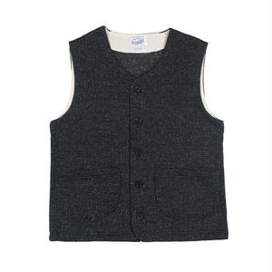 TWEED NEP FLEECE VEST -CHARCOAL-