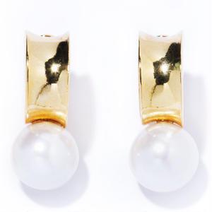 bar pearl earring / silver,gold