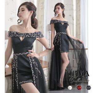 【IRMA】オーバースカート/オフショル/ショートイン風dress【81395】
