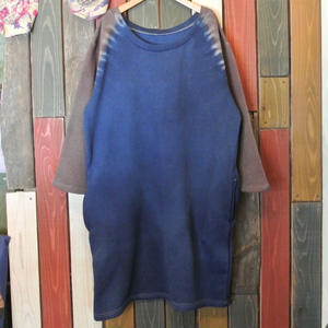 "JAVARA ""RAGLAN DYE"" sweat one piece (navy&brown)"