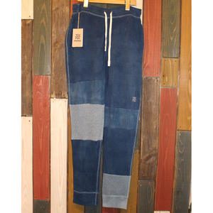 "JAVARA ""PATCHWORK INDIGO DYE SWEAT PANTS""01"