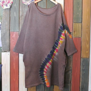 "JAVARA ""TIE DYE LINE"" sweat one piece (brown)"