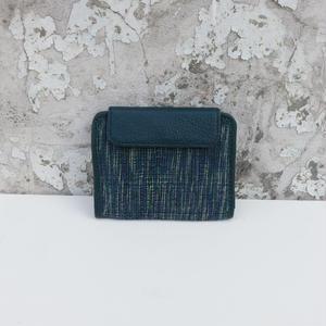 折り畳み財布 コットン&レザー ティール