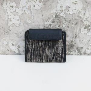 折り畳み財布 コットン&レザー ブラック