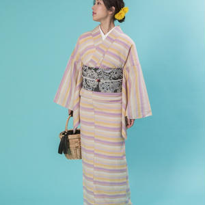 59kimono Colorful border Yellow