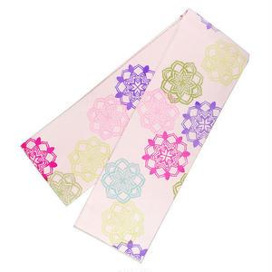 正絹細帯「アラベスク」 / 薄桜