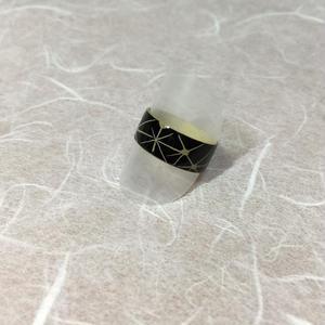ウッドリング(和柄ハナビ)黒/白