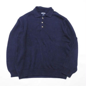 LANDS' END  NAVY 100% COTTON  knit  L MADE IN USA