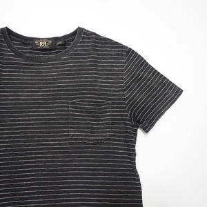 RRL striped Pocket T-shirt S Black