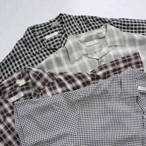 Open Collar S/s Shirt  Black×White - Brown - Green - Black×White  M