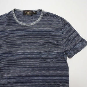 RRL striped Pocket T-shirt S  Indigo