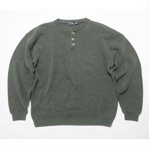 """Windy Hill"" Henley neck cotton knit L MADE IN USA"