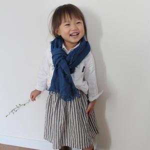 【あおもり藍コラボ】育てるリネンストール キッズ 藍色