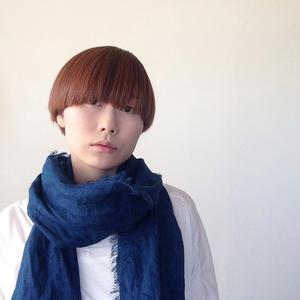 【あおもり藍コラボ】育てるリネンストール ハーフ 藍色