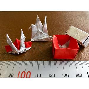 ネット限定販売! 銀箔両面和紙折紙 単色 銀/赤 50mm 40枚入