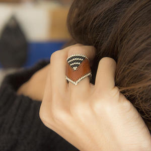 Leather & Beads ring brown vol.2
