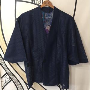 【KIMONO】ヴィンテージ ネイビー メッシュ 着物 羽織 ガウン