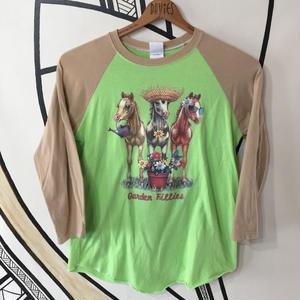 【ゆめかわ】レトロホース パステル ヴィンテージラグラン ロングTシャツ