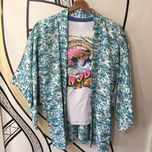 【KIMONO】ヴィンテージ ハワイアン柄 ブルー 着物 羽織 ガウン