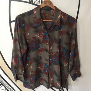 【奇抜】レトロ デザイン 開襟 総柄 日本製 柄シャツ