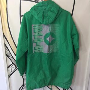 【XL】90s SPALDING グリーンロング ナイロンジャケット