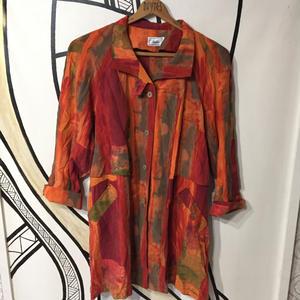 【一点物】オレンジ ペインティング デザイン シャツ ジャケット