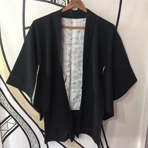 【KIMONO】ヴィンテージ 羽柄ブラック着物羽織ガウン