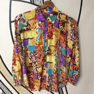 【個性的】レトロ奇抜柄 日本製柄シャツ