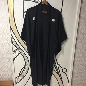 【個性的】ブラック紋入りロング着物ガウン