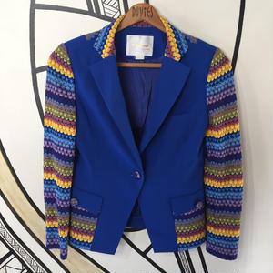 【個性的】韓国ニット レインボー&ブルージャケット
