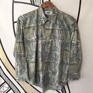 【個性的】幾何学模様ヴィンテージ日本製グリーン柄シャツ