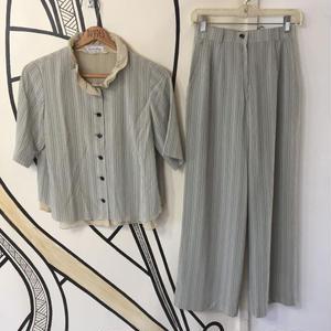 【モード】ヴィンテージ ノーカラーシャツ セットアップ