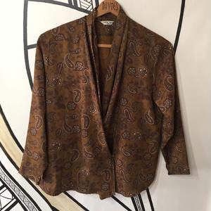 【奇抜】レトロ ペイズリー ブラウン シャツ ジャケット