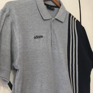 【90s】adidas アディダス 3ライン グレー ポロシャツ