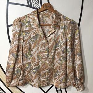 【奇抜】レトロ鳥柄ペイズリー開襟 シャツジャケット