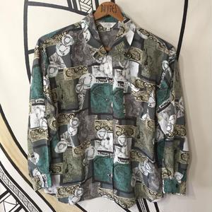 【派手】ミュシャ風 デザイン 柄シャツ
