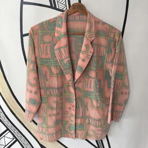 【奇抜】レトロ 古代壁画 デザイン 柄シャツ ジャケット