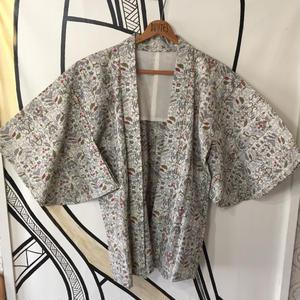 【KIMONO】ヴィンテージ 幾何学模様 着物羽織ガウン