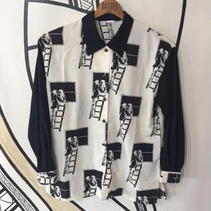 【スペシャル】ヴィンテージ キスシーン モノクロ 日本製 柄シャツ