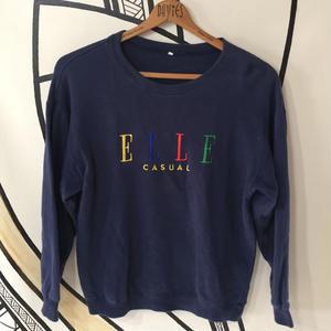 【90`s】ELLE デカロゴネイビースウェット
