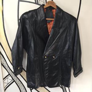 【一点物】変形ブラックレザーペイズリージャケット