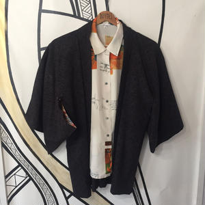 【KIMONO】ヴィンテージ 幾何学模様 着物 羽織 ガウン